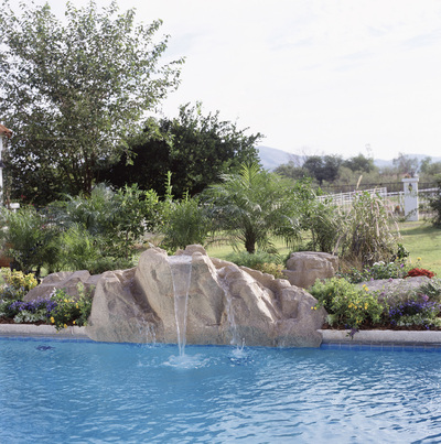 waterfall feature on pool