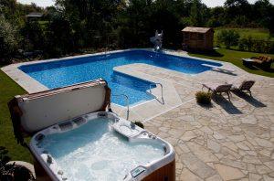 inground pool and above ground hot tub