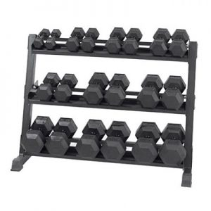 5-50lb Virgin Rubber Hex Dumbbell Set with Stand